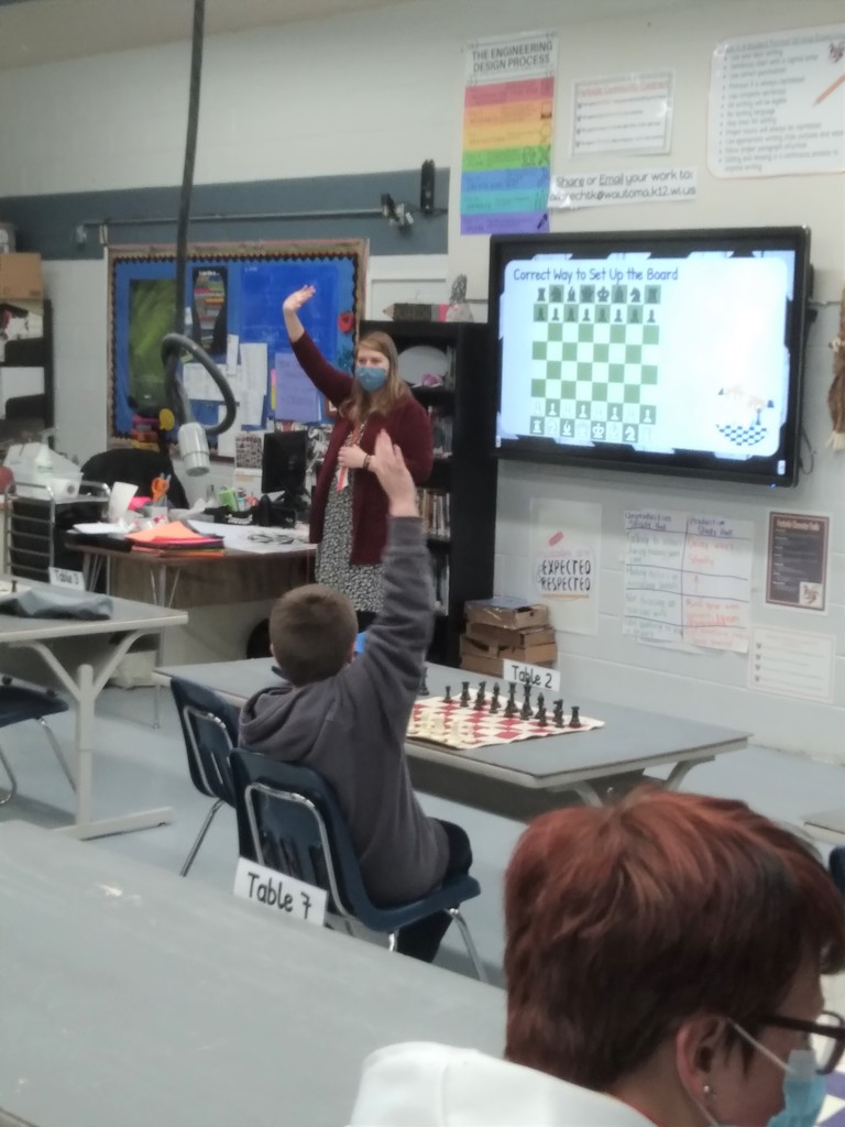 Ms. Albrecht provides chess lessons for Parkside A+ Students