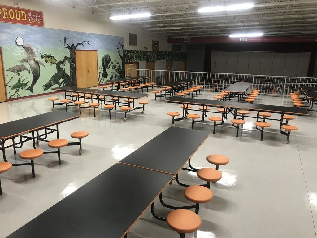 New to Parkside cafeteria this year! We added a new seasoning bar on the hot lunch line. Students are able to season their food on their own using different herbs and spices. We also updated the cafeteria tables to individual seats and in our school colors!